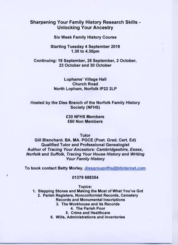 2018 mid norfolk family history society